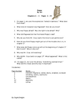 Poppy Reading Comprehension Questions and Test