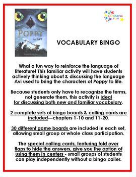 Poppy Vocabulary Bingo