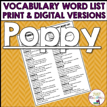 Poppy Vocabulary Word List