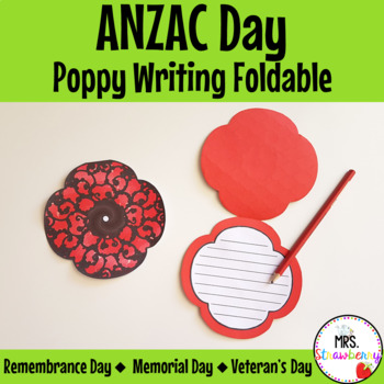 Poppy Writing Foldable Anzac Day Remembrance Day