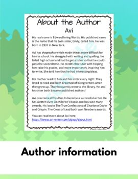Poppy by AVI book unit Questions Answers Crossword Author Study