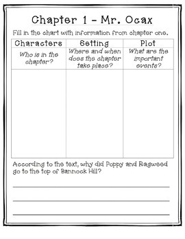 Poppy by Avi - Chapter Book Study Guide