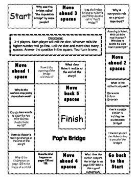 """Pop's Bridge"" Comprehension Game Board- Journeys story 3rd grade"
