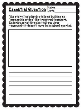 Pop's Bridge Journeys Third Grade Unit 1 Lesson 4 Activities & Printables