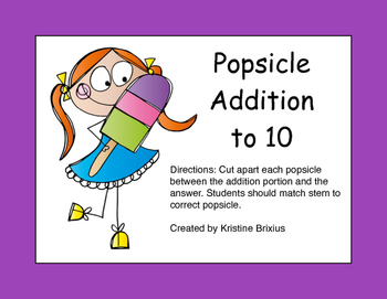 Popsicle Addition to 10