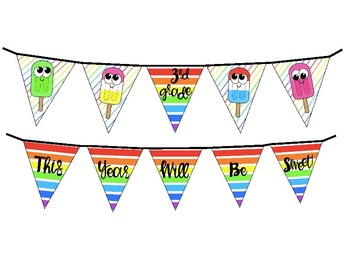 Popsicle Back to School Banner and Clip Art