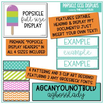 Popsicle Classroom Decor - 6th Grade CCSS Posters EDITABLE