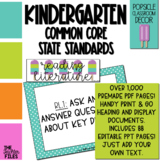 Popsicle Classroom Decor - Kindergarten CCSS Posters EDITABLE