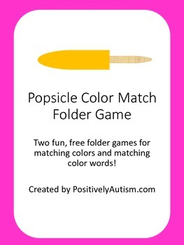 Popsicle Color Match Folder Games (Freebie)
