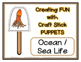 Popsicle / Craft Stick Puppets Ocean Sea Life - Preschool