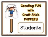 Popsicle / Craft Stick Puppets - Student Kids - Preschool