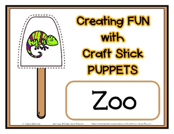 Popsicle / Craft Stick Puppets Zoo Theme - Preschool Daycare Curriculum