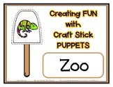 Popsicle / Craft Stick Puppets Zoo Theme - Preschool Dayca