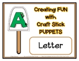 Popsicle / Craft Stick Puppets for the Letter A - Preschoo