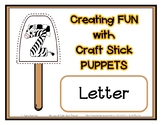 Popsicle / Craft Stick Puppets for the Letter Z - Preschool Daycare Curriculum