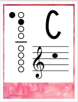 Popsicle Decor Theme - recorder fingering charts