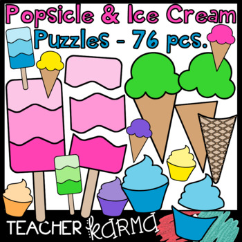 Popsicle & Ice Cream Puzzle Templates BUNDLE - 76 pcs