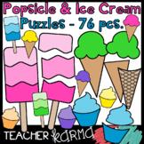 Popsicle & Ice Cream Puzzle Templates BUNDLE - 76 pcs