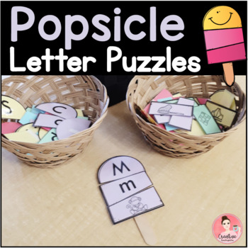 Popsicle Letter Puzzles! Letter Matching Activity for Kindergarten