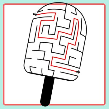 Popsicle Mazes with Solutions - Summer Fun Maze Clip Art Set Commercial Use