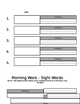 Popsicle Morning Sight Words