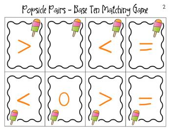 Popsicle Pairs Base Ten Matching Game