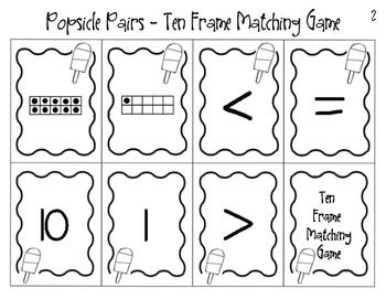 Popsicle Pairs Ten Frame Matching Game Blackline Freebie
