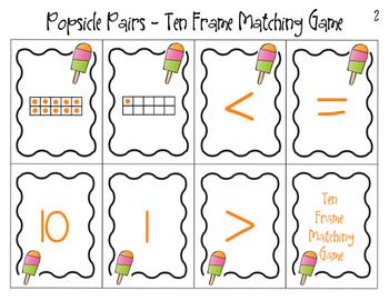 Popsicle Pairs Ten Frame Matching Game Freebie
