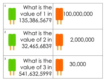 Popsicle Place Value Task Cards and Match Game (up to Hundred Millions)