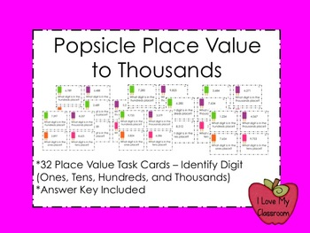 Popsicle Place Value to Thousands Task Cards