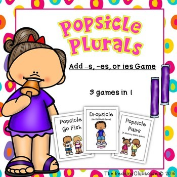 Popsicle Plurals  - Add s, es, or change y to ies