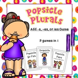 Popsicle Plurals Game - Add s, es, or change y to ies