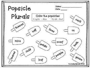 Popsicle Plurals - Irregular Plurals