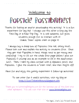 Popsicle Possibilities:  A Science Experiment & Follow-Up Activities!