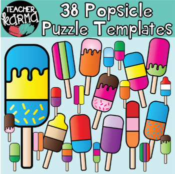 Popsicle Puzzle Templates - Puzzle Clipart - Make Your Own