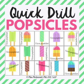 Popsicle Quick Drill {for articulation or fluency therapy & RTI}