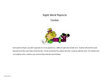 Popsicle Sight Word Center