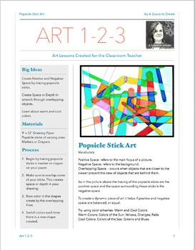 Popsicle Stick Art - Art 1-2-3 Lesson - Art Lesson for the Classroom Teacher