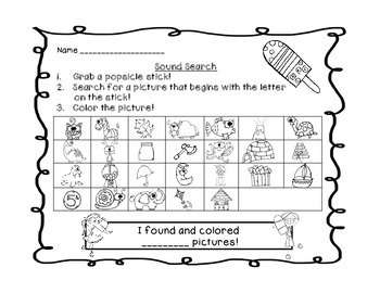 Popsicle Stick Letter & Sound Search