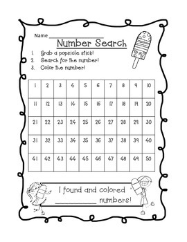 Popsicle Stick Numbers: Search & Find