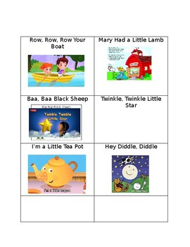 Popsicle Stick Nursery Rhyme Cards