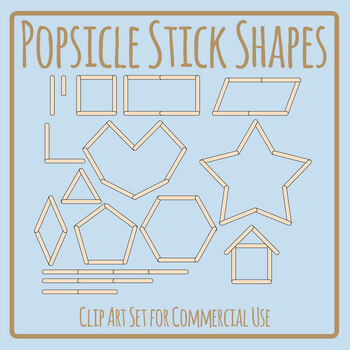 Popsicle Stick / Paddle Pop Stick Shapes Clip Art Set Commercial Use