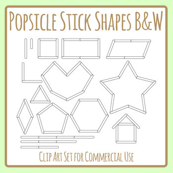 Popsicle Stick / Paddle Pop Stick Shapes Clip Art Set in Black and White Lineart