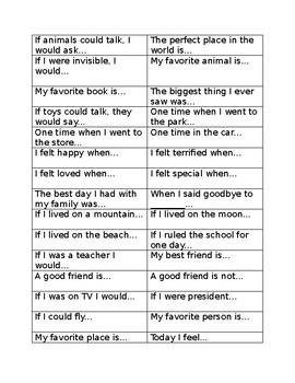Popsicle Stick Writing Topics