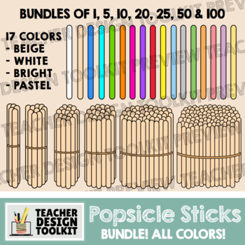 Popsicle Sticks Clip Art: Single and Bundles of 5, 10, 20, 25, 50 and 100