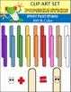 Popsicle Sticks Clip Art Set (Color and BW)