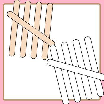 Popsicle Sticks / Paddle Pop Stick Tally Marks Clip Art Set Commercial Use