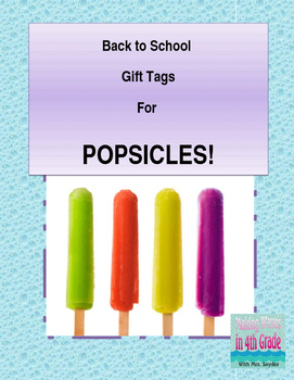 Popsicle Tags for Back to School