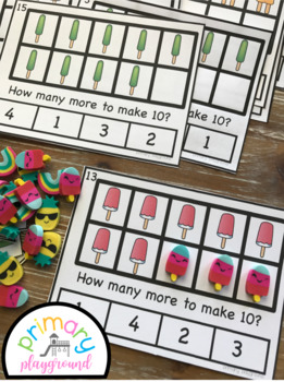 Popsicle Ten Frame Task Cards Making Ten with Cool Friends Center