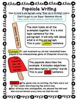 """Popsicle Writing - """"Step Up to Writing"""""""